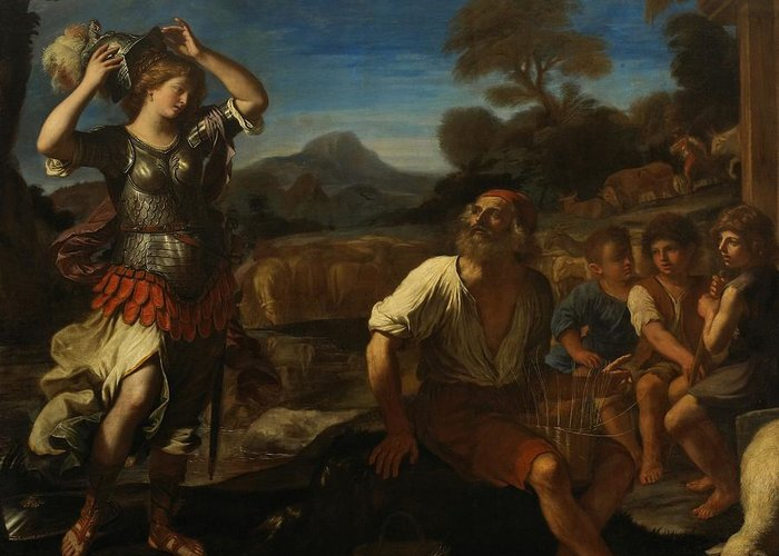 Erminia Greeting Card featuring the painting Erminia And The Shepherds by Giovanni Francesco Barbieri