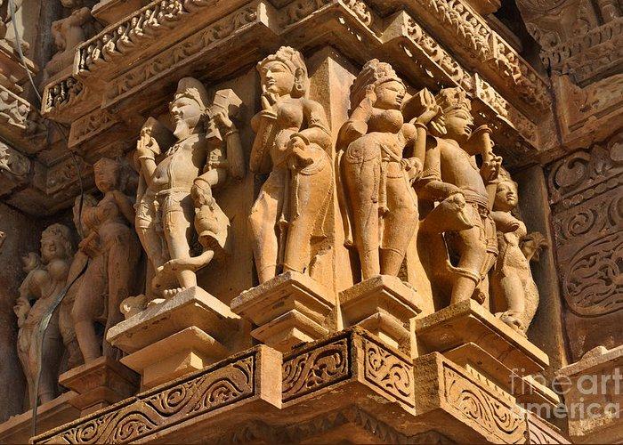 Erotic Human Sculptures At Vishvanatha Temple Western Temples Of Khajuraho  Madhya Pradesh India Greeting Card