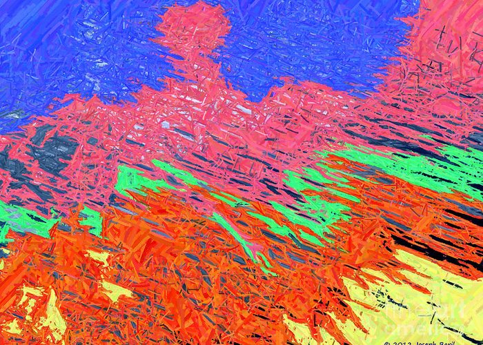 Abstract Greeting Card featuring the digital art Erupting Lava Meets The Sea by Joseph Baril