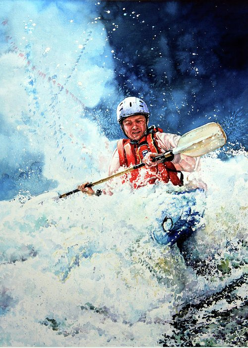 Kayak Greeting Card featuring the painting Eskimo Rolls by Hanne Lore Koehler