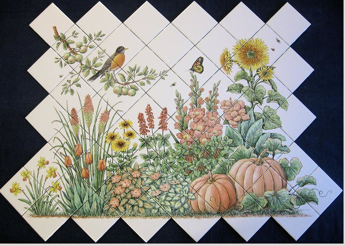 Tile Mural Greeting Card featuring the painting Espinosa's Flower Garden Tile Mural by Julia Sweda