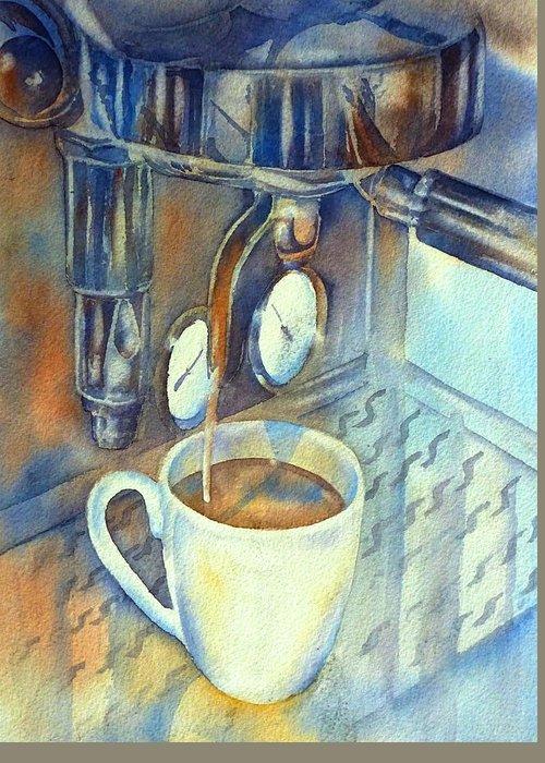 Siebträger Greeting Card featuring the painting Espresso Machine 3 by Thomas Habermann