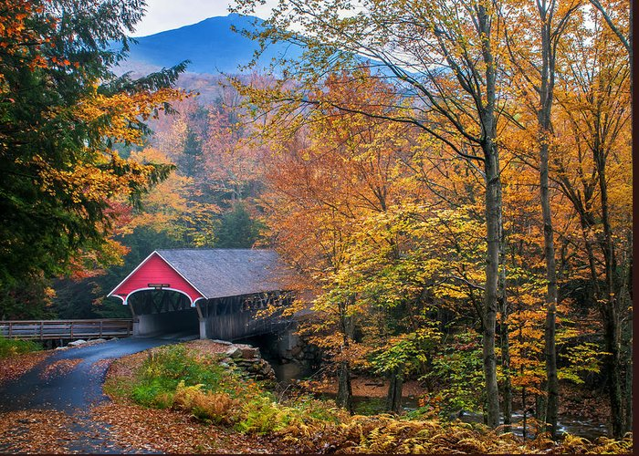 Covered Bridge Greeting Card featuring the photograph Essence Of New England - New Hampshire Autumn Classic by Thomas Schoeller