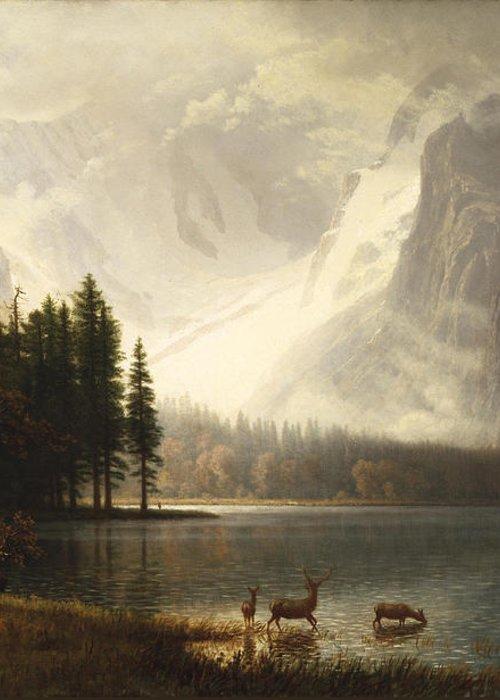 Albert Bierstadt Greeting Card featuring the digital art Estes Park Colorado Whytes Lake by Albert Bierstadt