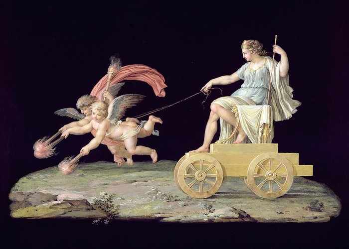 Chariot Greeting Card featuring the painting Eternity by Michelangelo Maestri