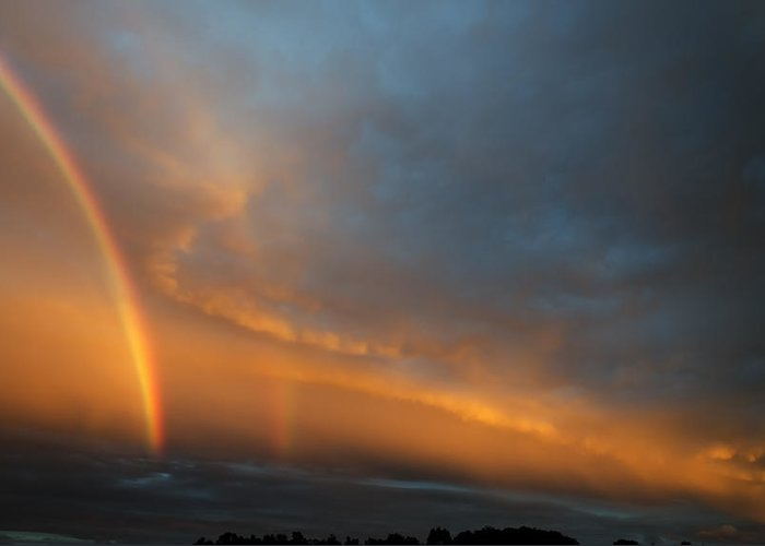 Rainbow Greeting Card featuring the photograph Ethereal Clouds And Rainbow by Greg Reed