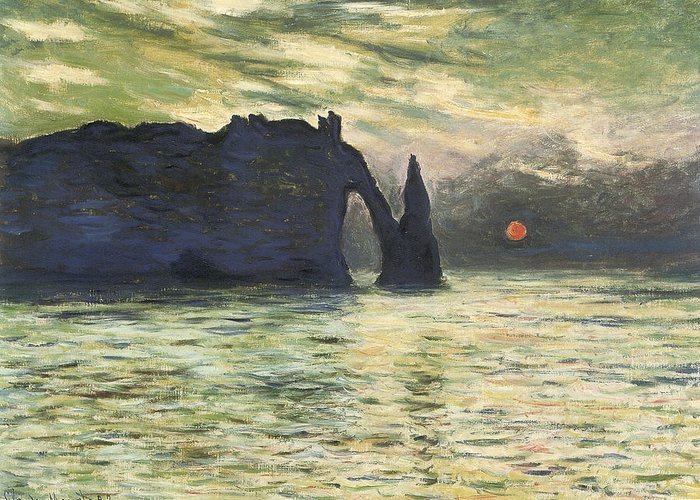 Etretat Sunset Greeting Card featuring the painting Etretat Sunset by Claude Monet
