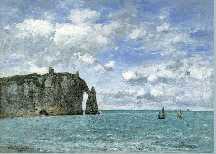 Eugene Boudin Greeting Card featuring the painting Etretat. The Cliff Of Aval by Eugene Boudin