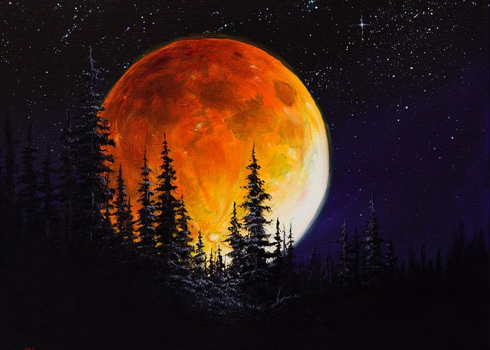 Full Moon Greeting Card featuring the painting Ettenmoors Moon by C Steele