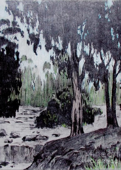Original Greeting Card featuring the painting Eucalyptus Grove by Roberto Prusso