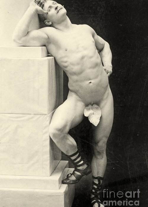 Male Greeting Card featuring the photograph Eugen Sandow by George Steckel