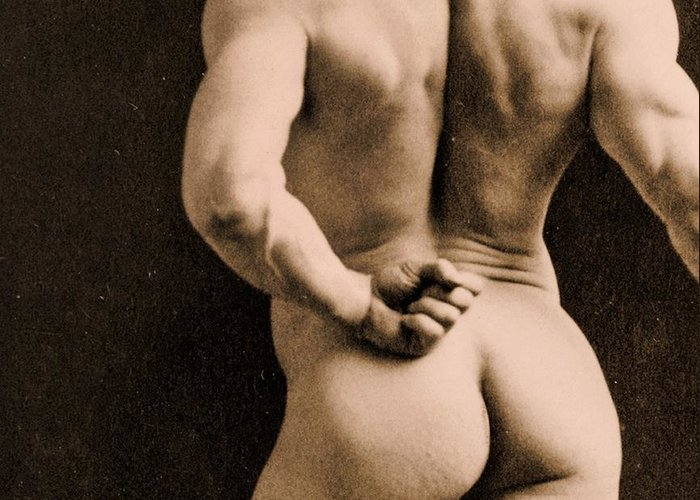 Rear Greeting Card featuring the photograph Eugen Sandow by Napoleon Sarony