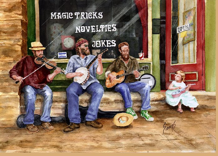 Banjo Greeting Card featuring the painting Eureka Springs Novelty Shop String Quartet by Sam Sidders