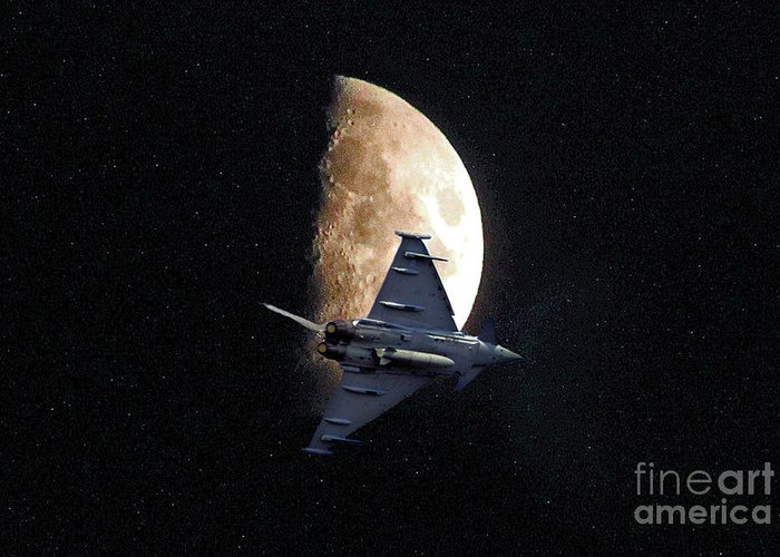 Moon Greeting Card featuring the photograph Eurofighter Against A Harvest Moon by Peter McHallam