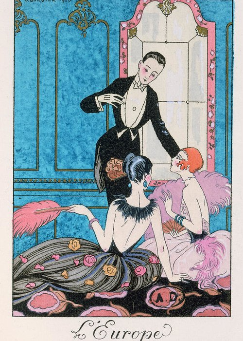 Male Greeting Card featuring the painting 'europe' Illustration For A Calendar For 1921 by Georges Barbier