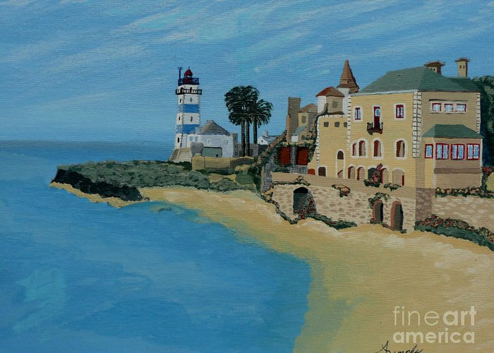 Lighthouse Greeting Card featuring the painting European Lighthouse by Anthony Dunphy