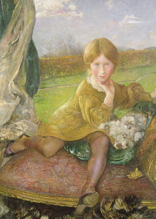 Evelyn Greeting Card featuring the painting Evelyn by Annie Louisa Swynnerton
