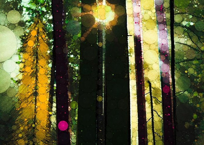 Sun Streaming Through The Tree's Of Grandma's Farm... It Was A Gorgeous Day And A Magical View Made To Inspire... Greeting Card featuring the digital art Even Now by Steven Boland