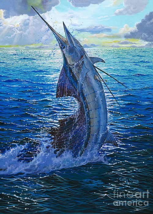 Sailfish Greeting Card featuring the painting Evening Bite by Carey Chen