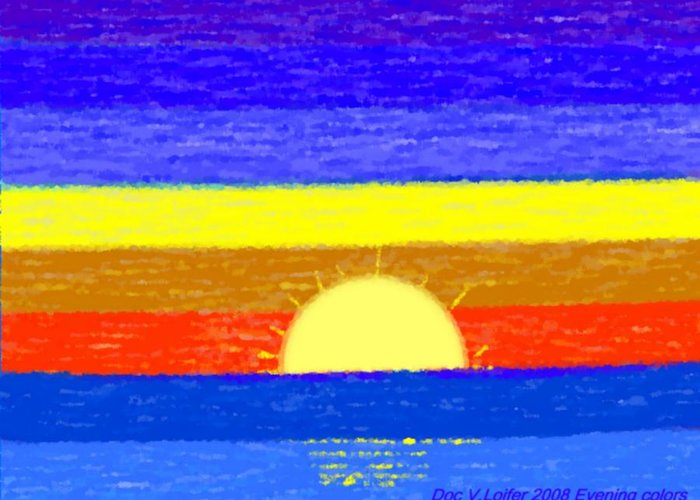 Evening.sky.stars.colors.violet.blue.orange.yellow.red.sea.sunset.sun.sunrays.reflrction. Ater. Greeting Card featuring the digital art Evening Colors by Dr Loifer Vladimir