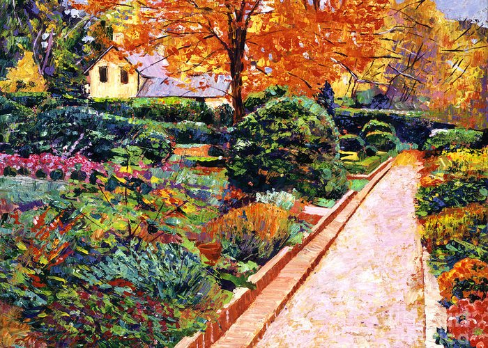 Landscape Greeting Card featuring the painting Evening Garden Stroll by David Lloyd Glover