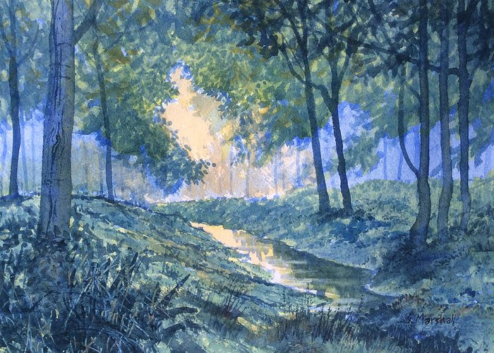 Glenn Marshall Yorkshire Artist Greeting Card featuring the painting Evening In Wykeham Forest by Glenn Marshall