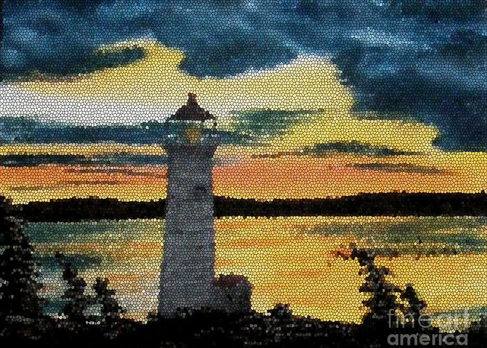 Evening Lighthouse In Stained Glass Greeting Card featuring the painting Evening Lighthouse In Stained Glass by Barbara Griffin