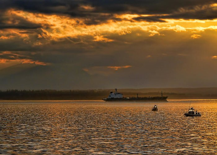 Ship Greeting Card featuring the photograph Evening Mariners Puget Sound Washington by Jennie Marie Schell