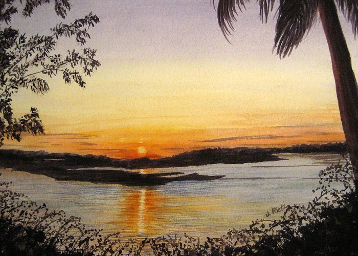 Sunset Greeting Card featuring the painting Evening Marsh by Julia RIETZ