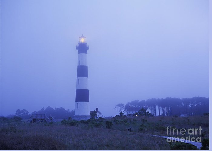 Bodie Greeting Card featuring the photograph Evening Mist On Bodie Island - Fm000080 by Daniel Dempster