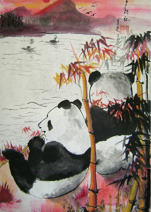 Animals Greeting Card featuring the painting Evening Romance by Lian Zhen