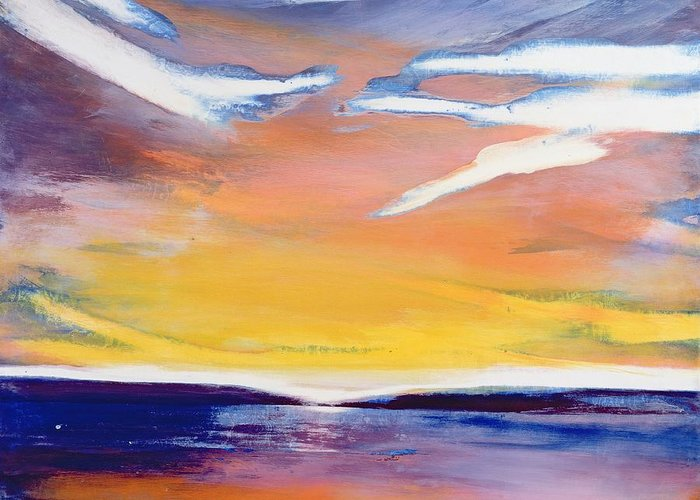 Dusk Greeting Card featuring the painting Evening Seascape by Lou Gibbs