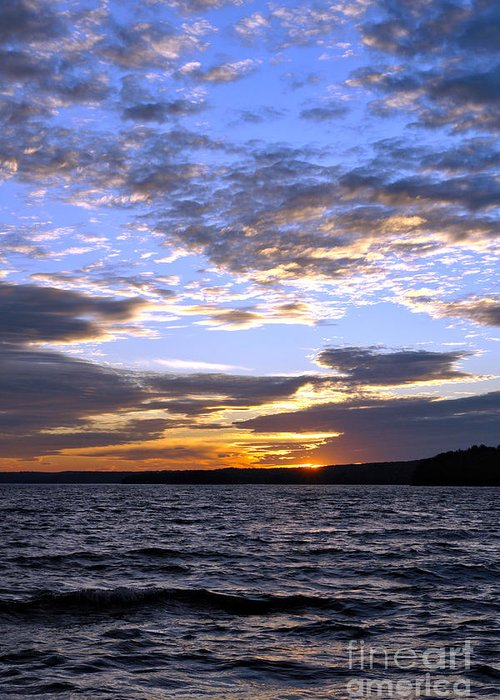 Pennsylvania Greeting Card featuring the photograph Evening Sky Over Lake by Olivier Le Queinec