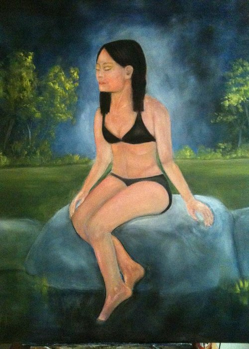 Woman Greeting Card featuring the painting Evening Swim by Sheila Mashaw