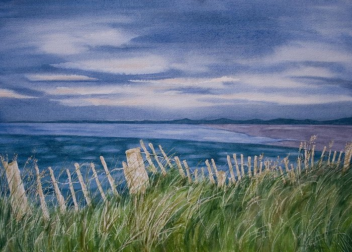 Landscape Greeting Card featuring the painting Evening Tide by Monika Degan