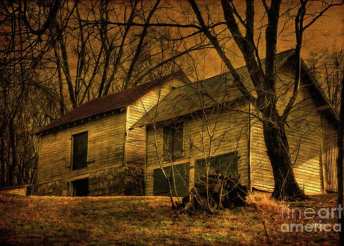 Barn Greeting Card featuring the photograph Evening Twilight Fades Away by Lois Bryan