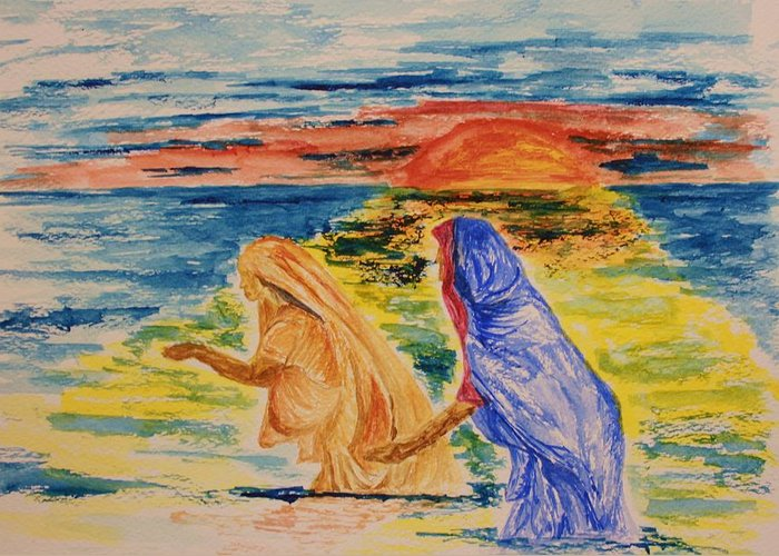 Wash Greeting Card featuring the painting Evening Wash At The Kumbh Mela by Paul Morgan