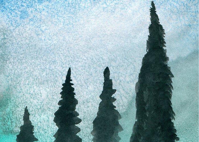 Art Artwork Painting Watercolor Snow North Pine Trees Pines Fir Wilderness Wild Northern Winter Polar Magic Arctic Kyllo Storm Sky Glow Glowing Greenish Bluish Black Landscape Light Atmosphere Fantastic Inspiring Seasonal Season Card Wilderness Cold Greeting Card featuring the painting Evergreens On Green And Blue Landscape #1 by R Kyllo