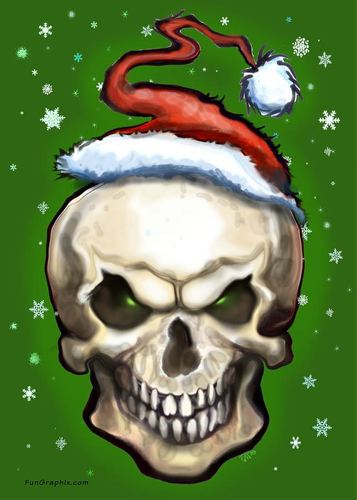 Evil Greeting Card featuring the painting Evil Christmas Skull by Kevin Middleton