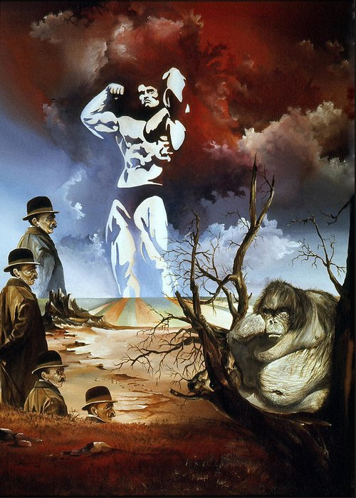 Surrealism Greeting Card featuring the painting Evolution by Otto Rapp