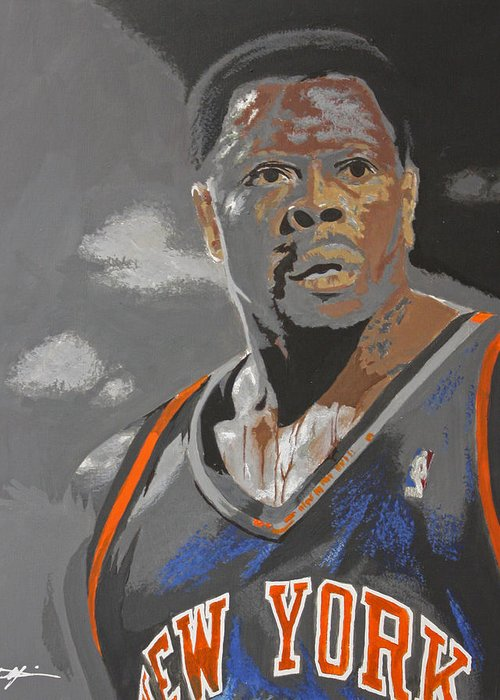 New York Knicks Greeting Card featuring the drawing Ewing by Don Medina