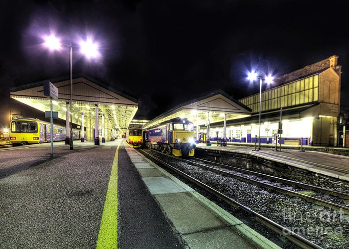 Exeter Greeting Card featuring the photograph Exeter St Davids By Night by Rob Hawkins