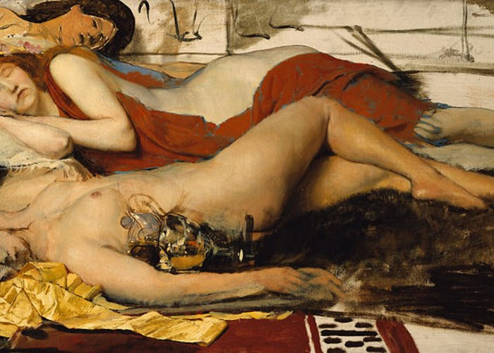 Nude Greeting Card featuring the painting Exhausted Maenides by Sir Lawrence Alma Tadema
