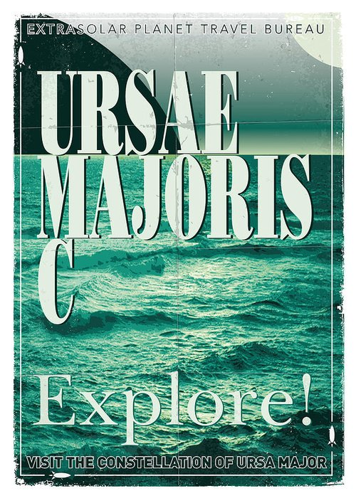 Space Greeting Card featuring the digital art Exoplanet 03 Travel Poster Ursae Majoris by Chungkong Art