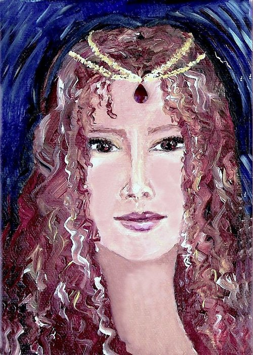Portrait Greeting Card featuring the painting Exotic Ruby by Robin Monroe