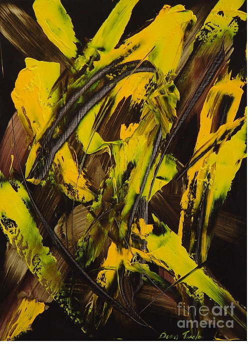 Abstract Greeting Card featuring the painting Expectations Yellow by Dean Triolo