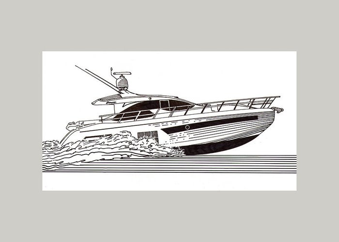 Yacht Portraits Greeting Card featuring the drawing Express Sport Yacht by Jack Pumphrey