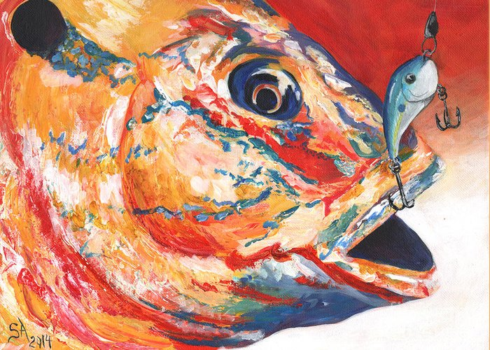 Expressionism Greeting Card featuring the painting Expressionist Blue Gill On Lure by Sonya Barnes
