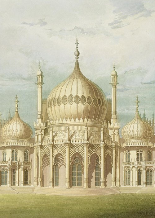 Oriental Greeting Card featuring the painting Exterior Of The Saloon From Views Of The Royal Pavilion by John Nash