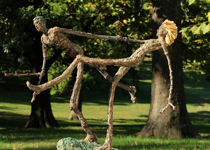 Groot Greeting Card featuring the sculpture Exuberance Photographed Outside by Adam Long